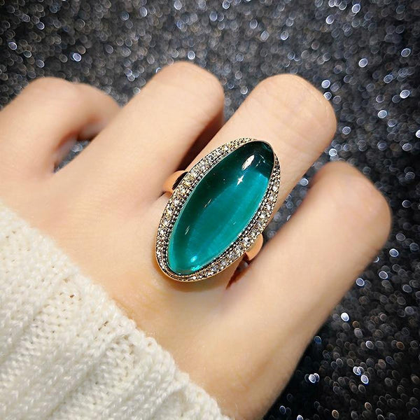 Rose Gold Color Green Crystal Rings Oval Drop Shipping for Women Finger Rings