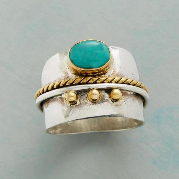 Bohemia Small Blue Stone Gem Gold Rope Ornament Ring for Women Vintage Silver Color Knuckle Finger Rings