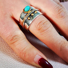 Load image into Gallery viewer, Bohemia Small Blue Stone Gem Gold Rope Ornament Ring for Women Vintage Silver Color Knuckle Finger Rings