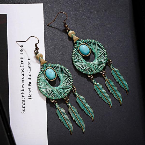 Green Bronze Leaves Tassel Round Blue Stone Pendant Drop Dangle Earrings