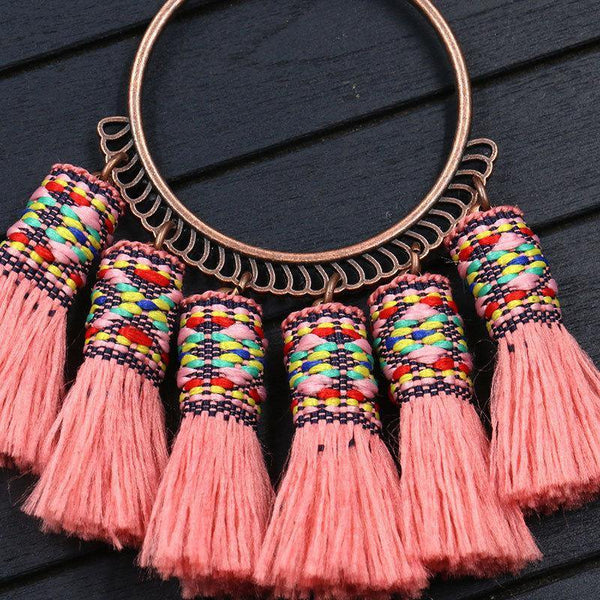 Multilayers Necklace New Fashion Handmade Embroidery Bohemian Tassel Necklace
