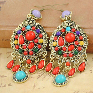 Ethnic Colorful Stone Big Gypsy Drop Fashion Bohemian Vintage Earrings