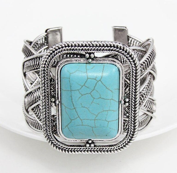 Vintage Blue Stone Turquoise Square Cuff Bangle Open Bracelets