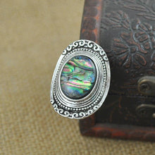 Load image into Gallery viewer, Bohemia Green Stone Vintage Women Zinc Alloy Shell Jewelry Ring