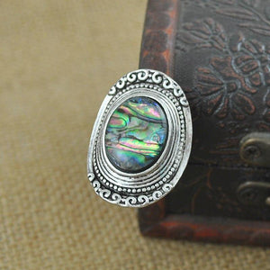 Bohemia Green Stone Vintage Women Zinc Alloy Shell Jewelry Ring
