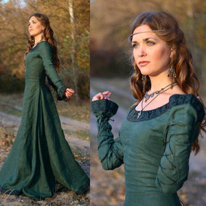 Autumn Vintage Women Medieval Renaissance Victorian Dress Cosplay Costume Princess Long Maxi Robe Femme Christmas Ball Gowns