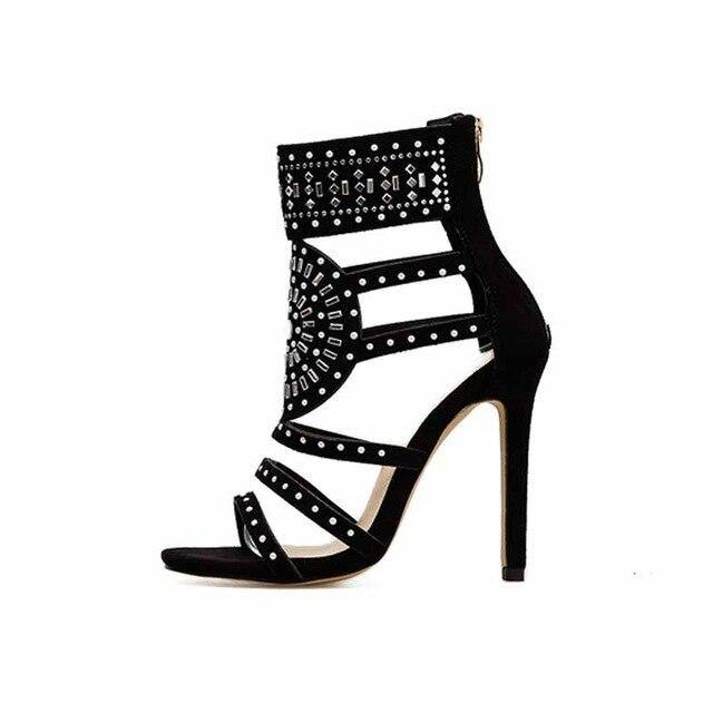 Rhinestone Gladiator Women Sexy High Heel Pumps Summer Party Shoes Sandals
