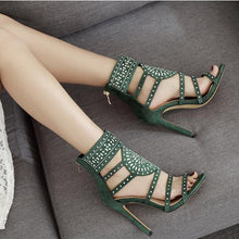 Load image into Gallery viewer, Rhinestone Gladiator Women Sexy High Heel Pumps Summer Party Shoes Sandals