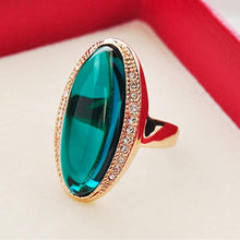Load image into Gallery viewer, Rose Gold Color Green Crystal Rings Oval Drop Shipping for Women Finger Rings