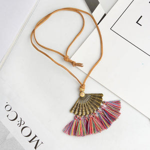 Bohemian Pendant Long Faux Suede Chain Tassel Necklace