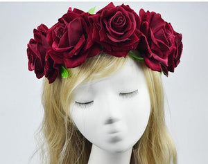 Bride Women Rose Flower Crown Hairband Wedding Festival Elastic Headwear
