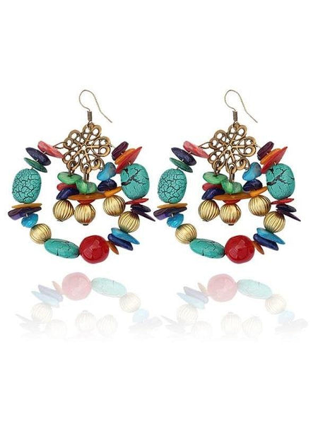 Big Circle Multicolor Boho Beads Drop Earrings Bohemia Jewelry