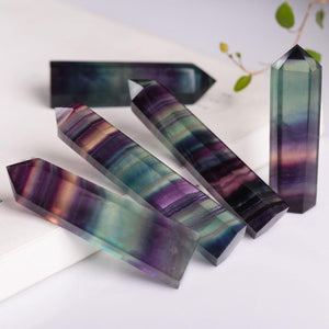 Natural Fluorite Crystal Colorful Striped Quartz Crystal Healing Hexagonal Wand Treatment Stone