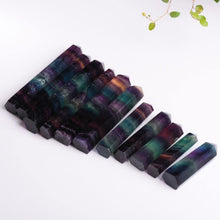 Load image into Gallery viewer, Natural Fluorite Crystal Colorful Striped Quartz Crystal Healing Hexagonal Wand Treatment Stone
