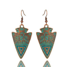 Load image into Gallery viewer, Triangle Totem Bohemian Statement Exaggerated antique Green metal Earrings