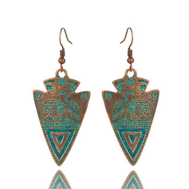 Triangle Totem Bohemian Statement Exaggerated antique Green metal Earrings