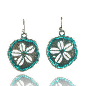 Bohemian Statement Exaggerated antique green metal water drop earrings for women