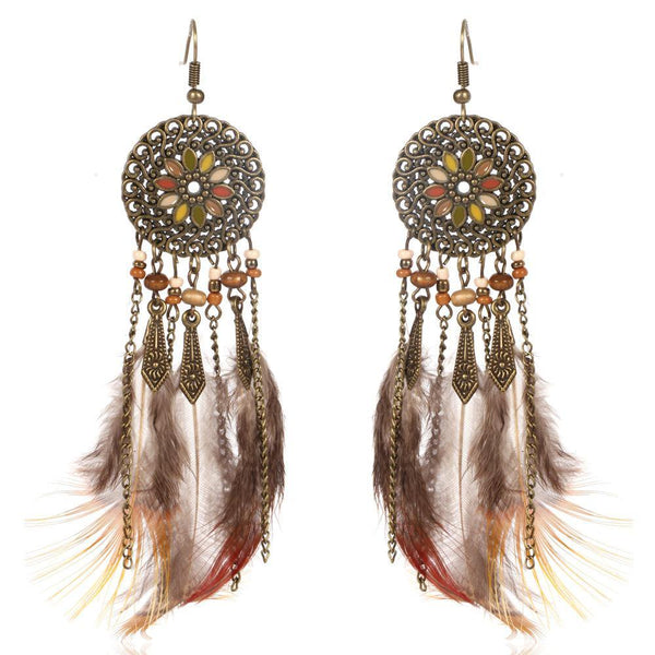 Fashion Long Drop Bohemia Women Feather Tassel Earrings