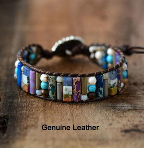 Women Boho Bracelet Tube Shape Natural Stone Single Leather Wrap Bracelet
