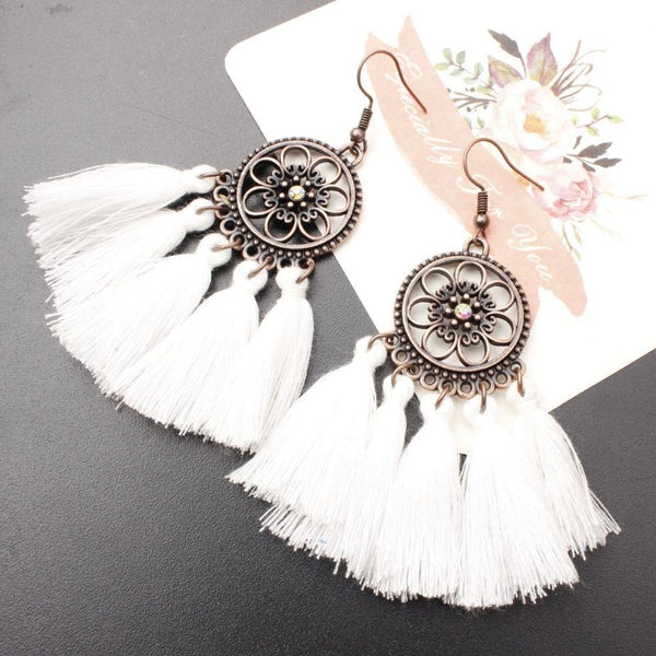 Ethnic Bohemian Drop Dangle Long Rope Fringes Retro Tassel Earrings Women Party Jewelry