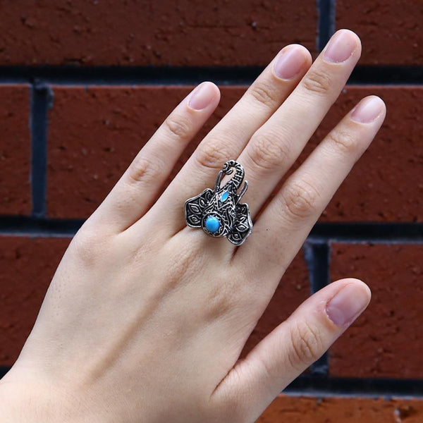 Vintage Elephant Head Alloy Finger Bohemian Lovely Blue Bead Ring