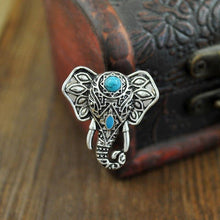 Load image into Gallery viewer, Vintage Elephant Head Alloy Finger Bohemian Lovely Blue Bead Ring