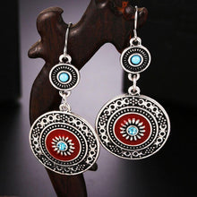 Load image into Gallery viewer, Vintage Hollow Round Pendant Enamel Flower Pattern Sweet Dangle Earrings