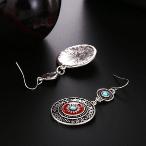 Vintage Hollow Round Pendant Enamel Flower Pattern Sweet Dangle Earrings