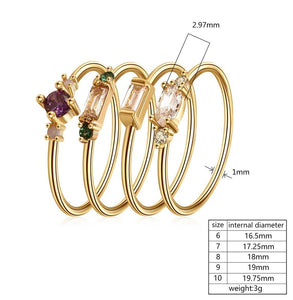 Fashion 4pcs Set Gold Color Plating Simple Boho Rings Women Zircon Bohemian Engagement Rings