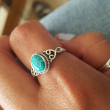 Load image into Gallery viewer, Vintage Antique Silver Turquoises Ring Tibet Women Finger Ring