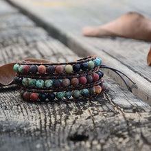 Load image into Gallery viewer, Vintage Leather Bracelets Matte Stone 3 Strands Wrap Woven Multilayer Boho Bracelet Handmade Jewelry