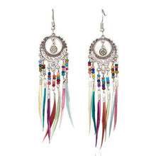 Load image into Gallery viewer, Bohemian Ethnic Long Statement Colorful Tassel Drop Resin Beads Fringe Earrings