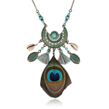 Load image into Gallery viewer, Feather Tassel Shell Pendant Statement Women Boho Necklace