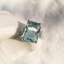 Load image into Gallery viewer, Chic Big Ocean Blue Engagement Rectangle Transparent Ring Jewelry