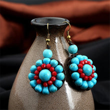 Load image into Gallery viewer, Ethnic Bohemian Style Stone Hand-woven Flower Hanging Drop Earrings