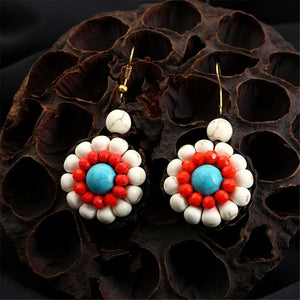 Ethnic Bohemian Style Stone Hand-woven Flower Hanging Drop Earrings