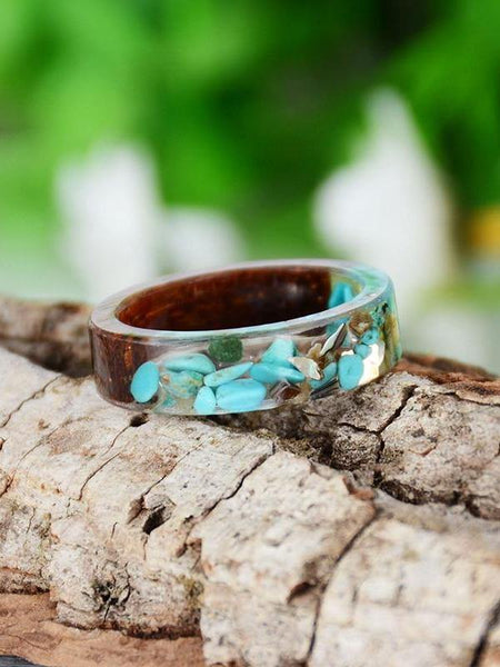 Boho Design Handmade Vintage Colorful Stone Inside Transparent Ring