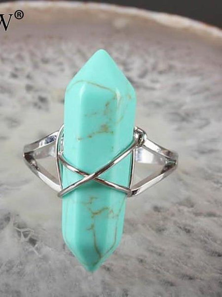 Natural Gem Stone Finger Adjustable Ring Boho Jewelry