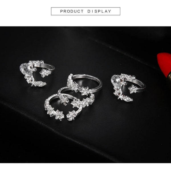 5Pcs set Moon Star Crystal Women Boho Wedding Knuckle Flower Rings