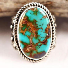 Load image into Gallery viewer, Large Blue Stone Vintage Boho Color Ring