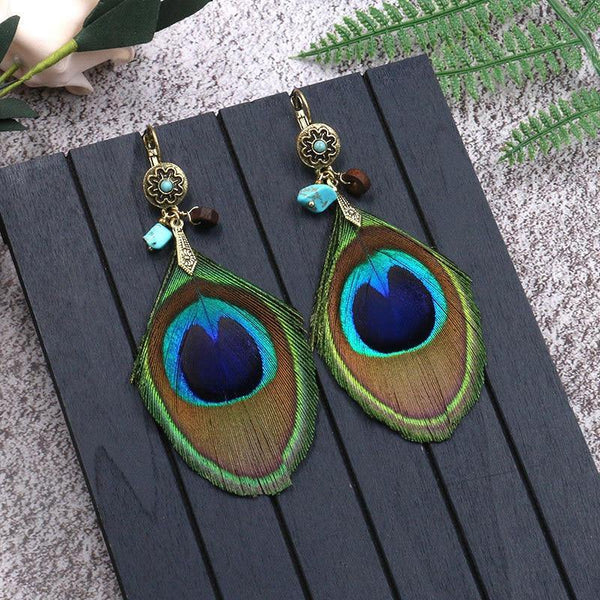 Vintage Peacock Feather Piercing Clip Earrings for Women