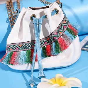 Boho Women Bucket Canvas Retro Embroidery Pom Mini Shoulder Bags