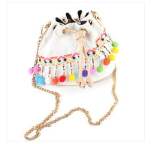 Load image into Gallery viewer, Boho Women Bucket Canvas Retro Embroidery Pom Mini Shoulder Bags