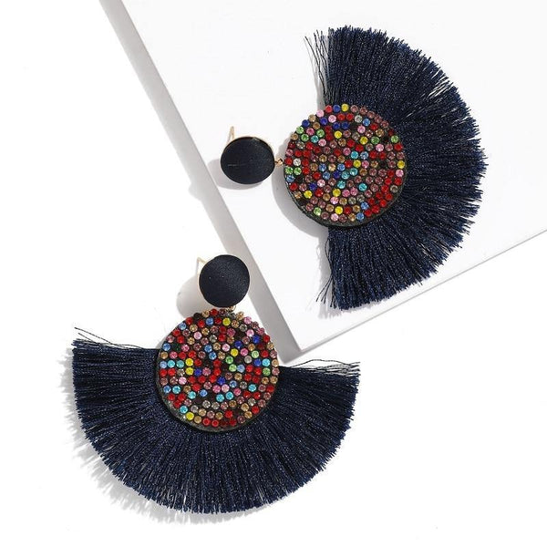 Fashion Bohemian Round Tassel Female Water Dangle Handmade Brincos Statement Earrings