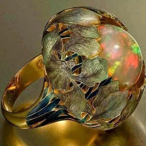 Flower Stone Opal Anel Exaggerated Personality Fabulous Gold Anillos Ring