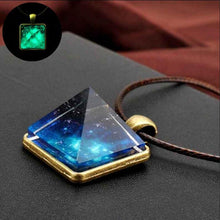 Load image into Gallery viewer, Crystal Glow In The Dark Pyramid Pendant Outer Space Star Dust Triangle Geometric Magic Luminous Necklace