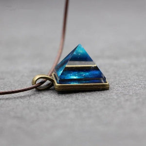 Crystal Glow In The Dark Pyramid Pendant Outer Space Star Dust Triangle Geometric Magic Luminous Necklace