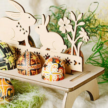 Load image into Gallery viewer, Easter Decoration Bunny Egg Shelves Stand Rack Letter Rooster Wooden Holder Rabbit Ornament