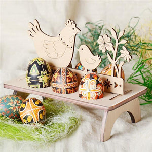 Easter Decoration Bunny Egg Shelves Stand Rack Letter Rooster Wooden Holder Rabbit Ornament