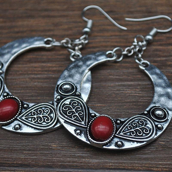 Ethnic Vintage Carved Large Circle Antique Drop Dangle Earrings